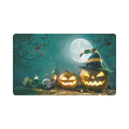 MKHERT Halloween Pumpkin Head Jack Lantern Skull Doormat Rug Home Decor Floor Mat Bath Mat 30x18 inch