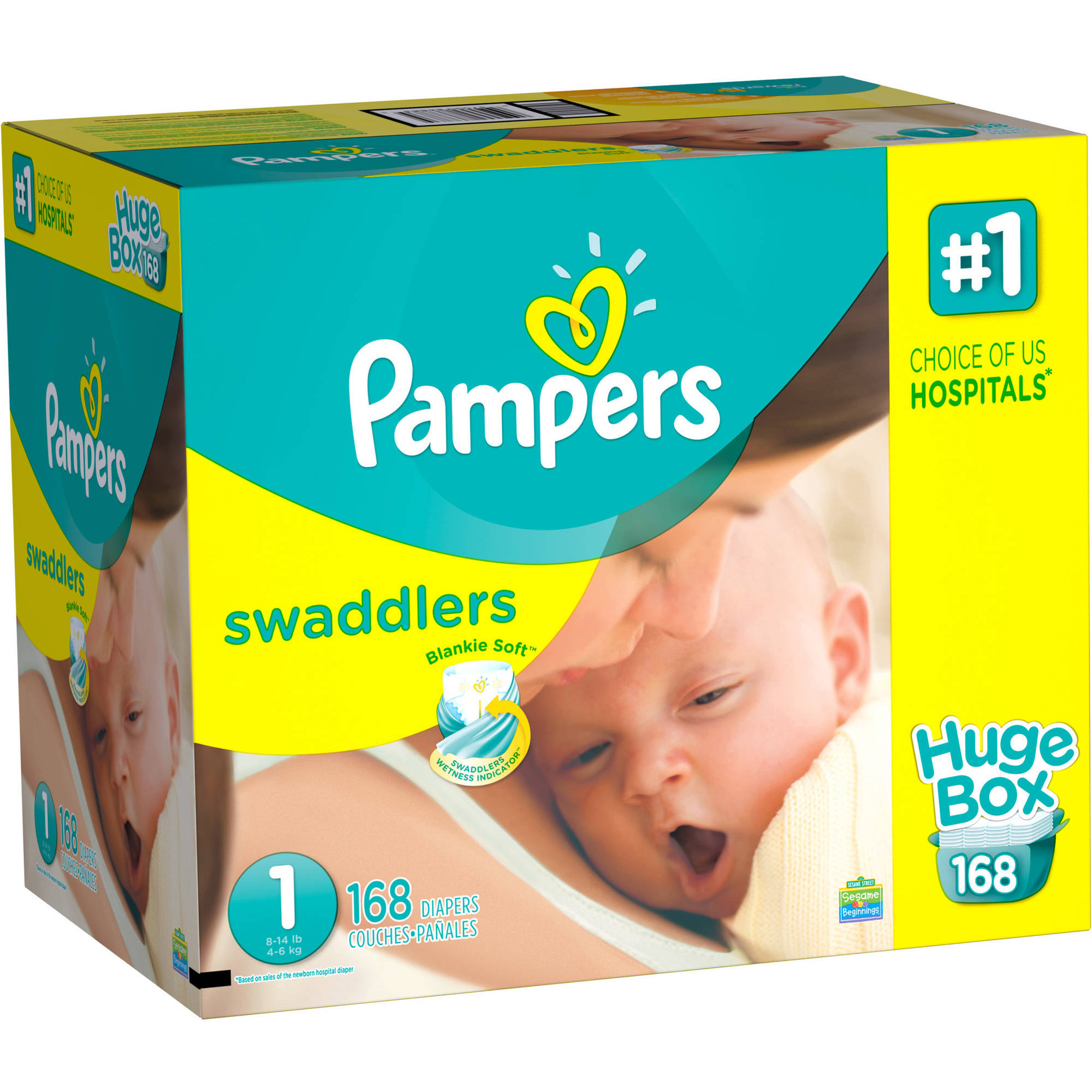 Pampers Swaddlers Diapers, Size 1 (Choose Diaper Count)