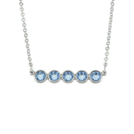 - X & O Rhodium Plated Flat Back Horizontal Bar Necklace With Swarovski Crystals in Light Sapphire