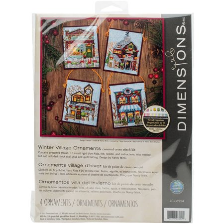 Winter Village Ornaments Counted Cross Stitch Kit-16 Count Set Of 4 - image 2 de 2