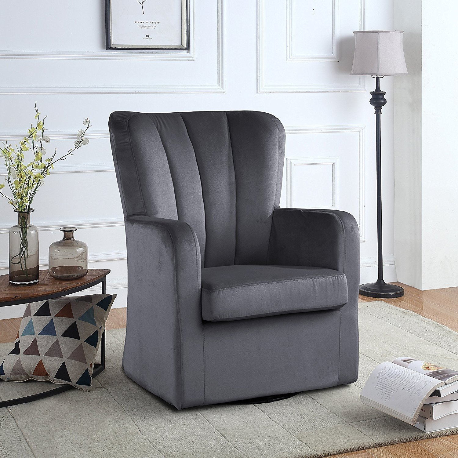 Kalosa Swivel Accent Chair: Modern Velvet Swivel Armchair, Rotating Accent Chair For