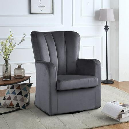 Modern Velvet Swivel Armchair Rotating Accent Chair For Living Room