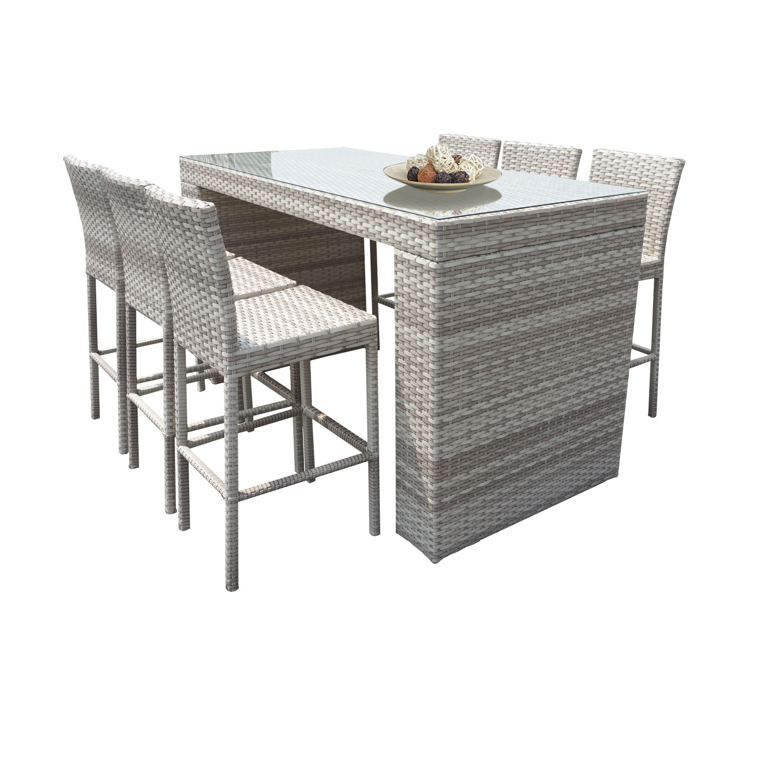 New Haven Bar Table Set With Barstools 7 Piece Outdoor Wicker Patio  Furniture