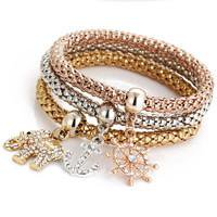 Sexy Sparkles 3 PC Set Bracelets for Women With Dangling Charms Elephant Anchor 8.2 Stretch