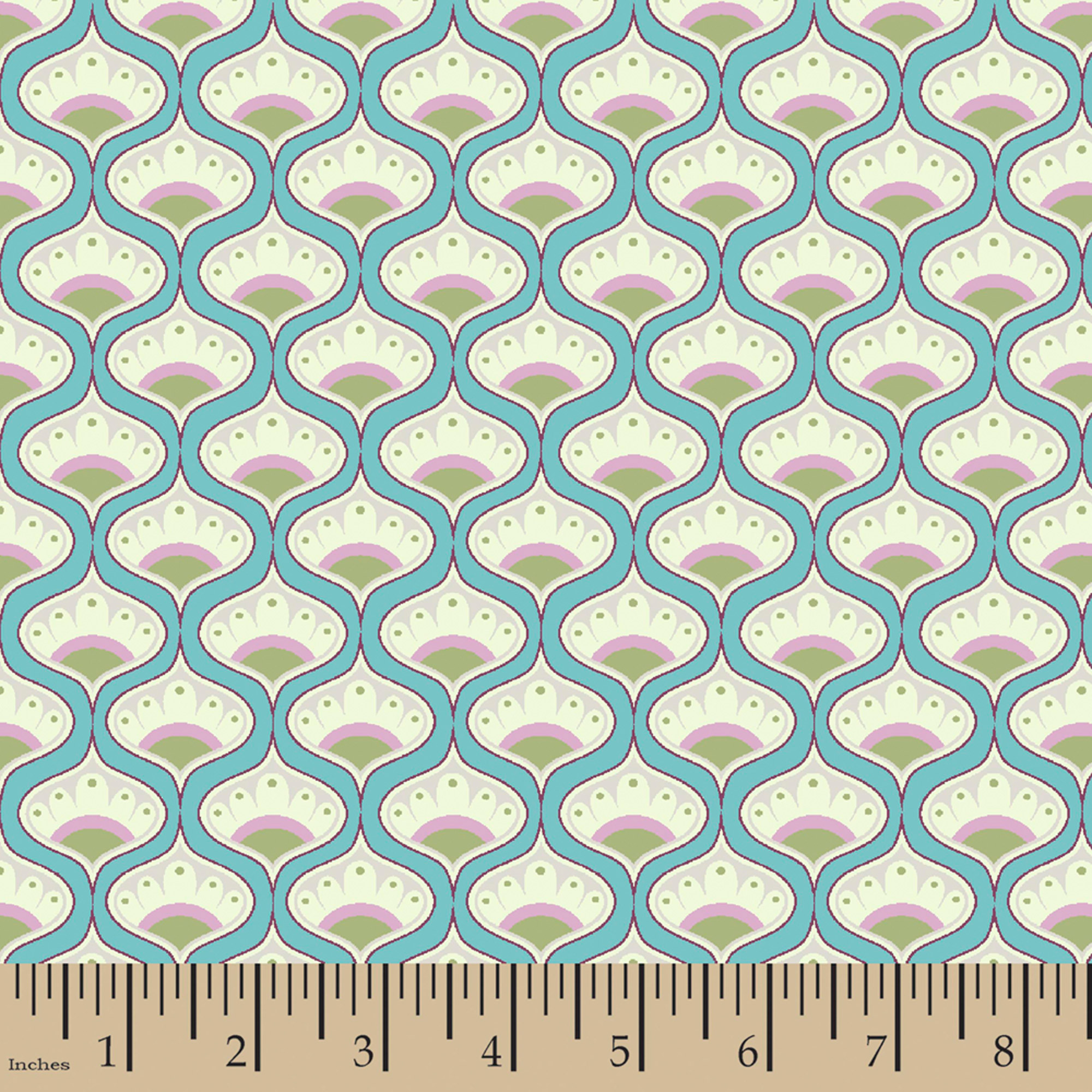 "Rosemary Fan Medallion, Cotton, Aqua, 44/45"" Wide, Fabric By The Yard"