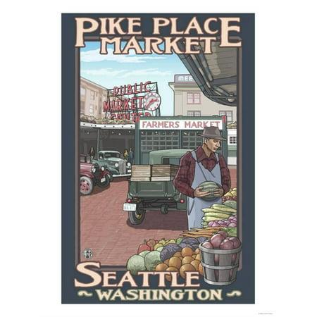 Pike Place Market, Seattle, Washington Laminated Print By Lantern Press