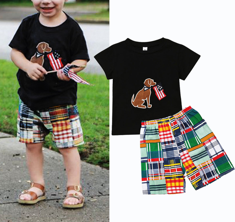 Newborn Kids Baby Boy Tops T-shirt Plaid Pants 2PCS Outfits Set Clothes 1-6Years
