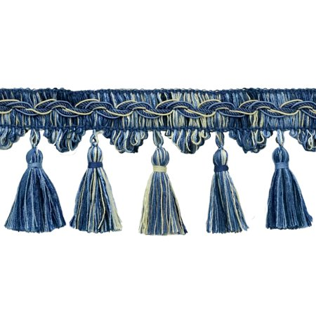 - Veranda Collection 3.5 Inch Tassel Fringe Trim - Light Blue, French Blue, White, Style# VTF035, Color: Nautical - VNT24,  Sold By the Yard