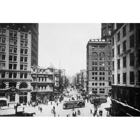 San Francisco C1900 NNewspaper Row At Kearny And Market Streets San Francisco At Far Right Stands The Hearst Building Second Right The Chronicle Building Photographed C1900 Poster Print by Granger Col Second Row Runner