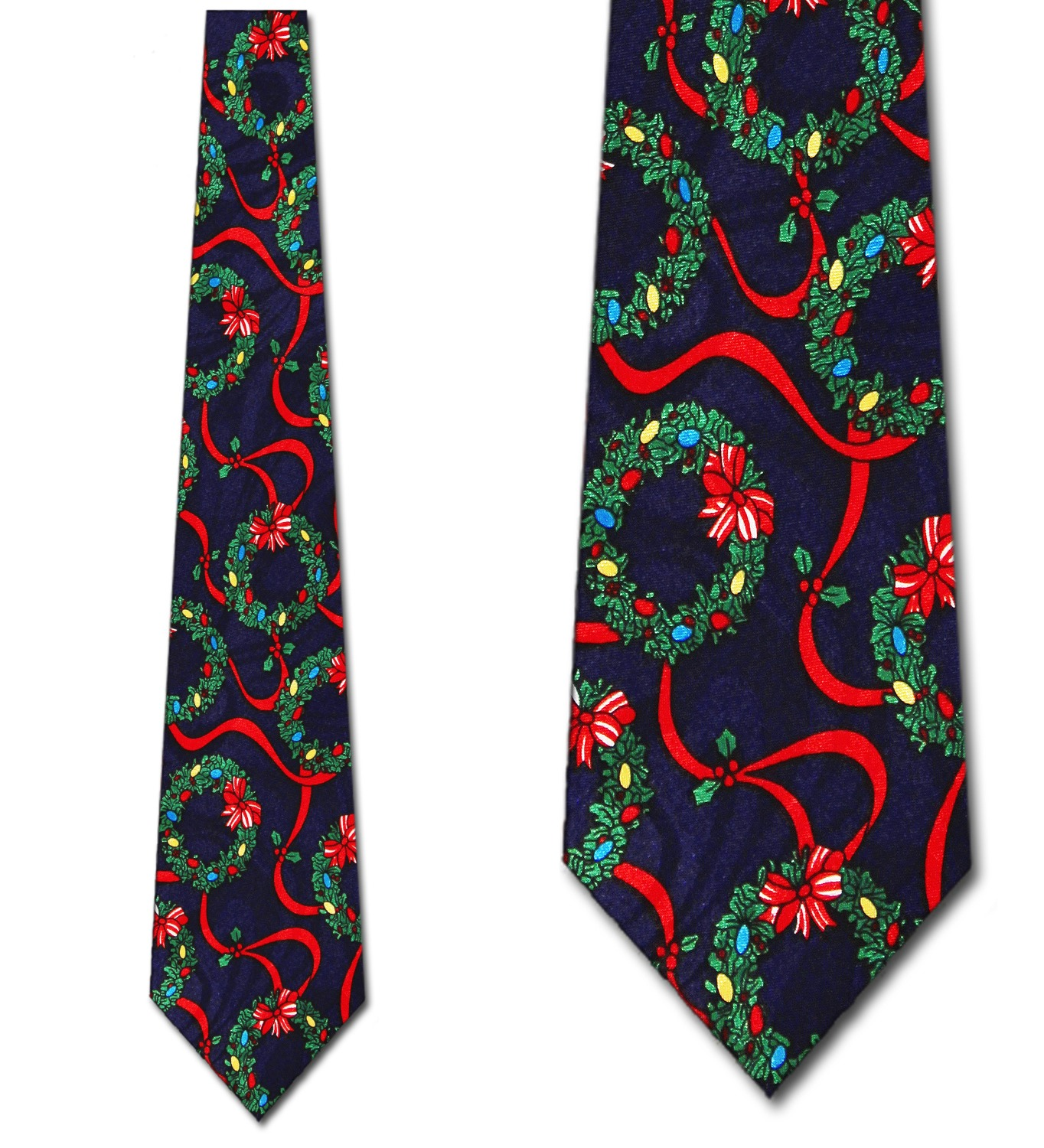 Christmas Wreaths Navy Necktie Mens Tie