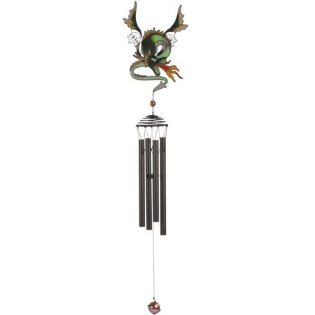 "34"" Black Coated Metal Wind Chime with Green Dragon Blowing Fire"