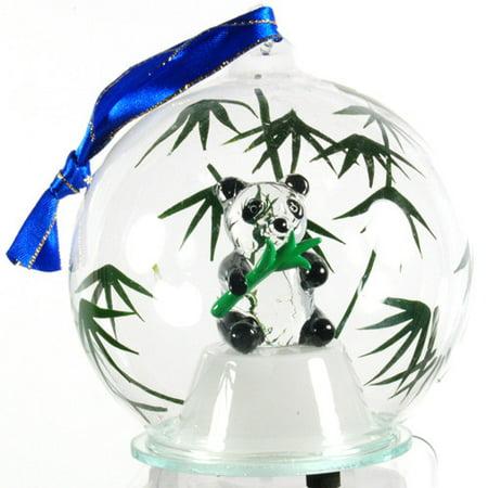Unison Gifts Light Up Glass Panda Ornament - Panda Ornament