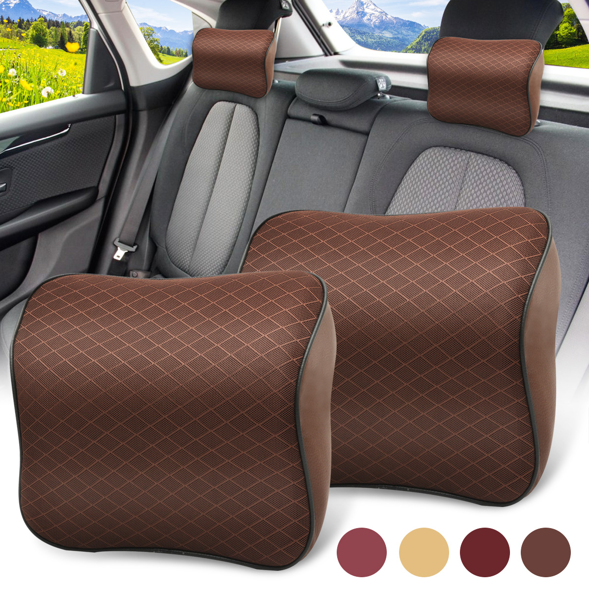 Neck Cushion Car Seat neckguard cushion Headrest Pillow Breathable Mesh PU Leather Pad Memory Foam (Color: Beige, Wine red, Coffee, Purple)