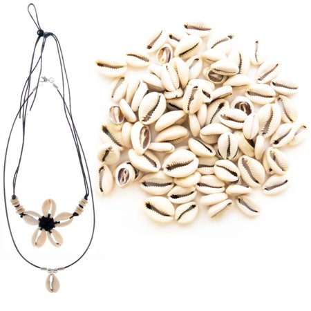 150 PCs Genuine Cowrie Shells for Jewelry Making and Home Décor Plus 2 Free Necklaces - Smooth Cut Oval Ocean Beach Spiral Sea Shells - Great for African, Ethnic, Native American Designs - Beach Necklaces