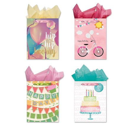 Happy Birthday! 4 Medium Sized Party Gift Bags - Set of 4 Gift Bags w/Tags & Tissue Paper