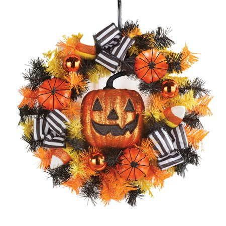Jack O Lantern Halloween Wreath with Candy Corns and Bows, Fron Door, Outdoor or Indoor Décor