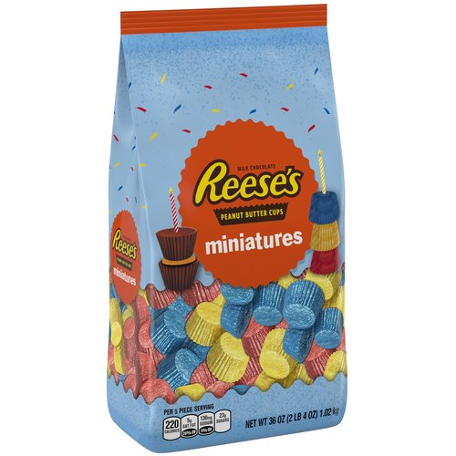 Reese's Peanut Butter Assortment Miniatures Birthday Chocolate Candy, 36 Oz.