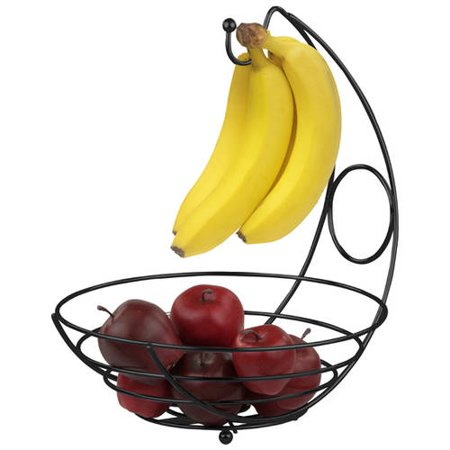 Home Basics Black Fruit Basket with Banana Tree