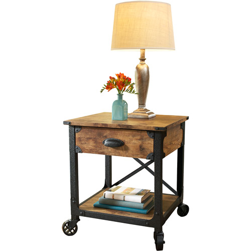 Better Homes and Gardens Rustic Country End Table, Antiqued Black/Pine Finish