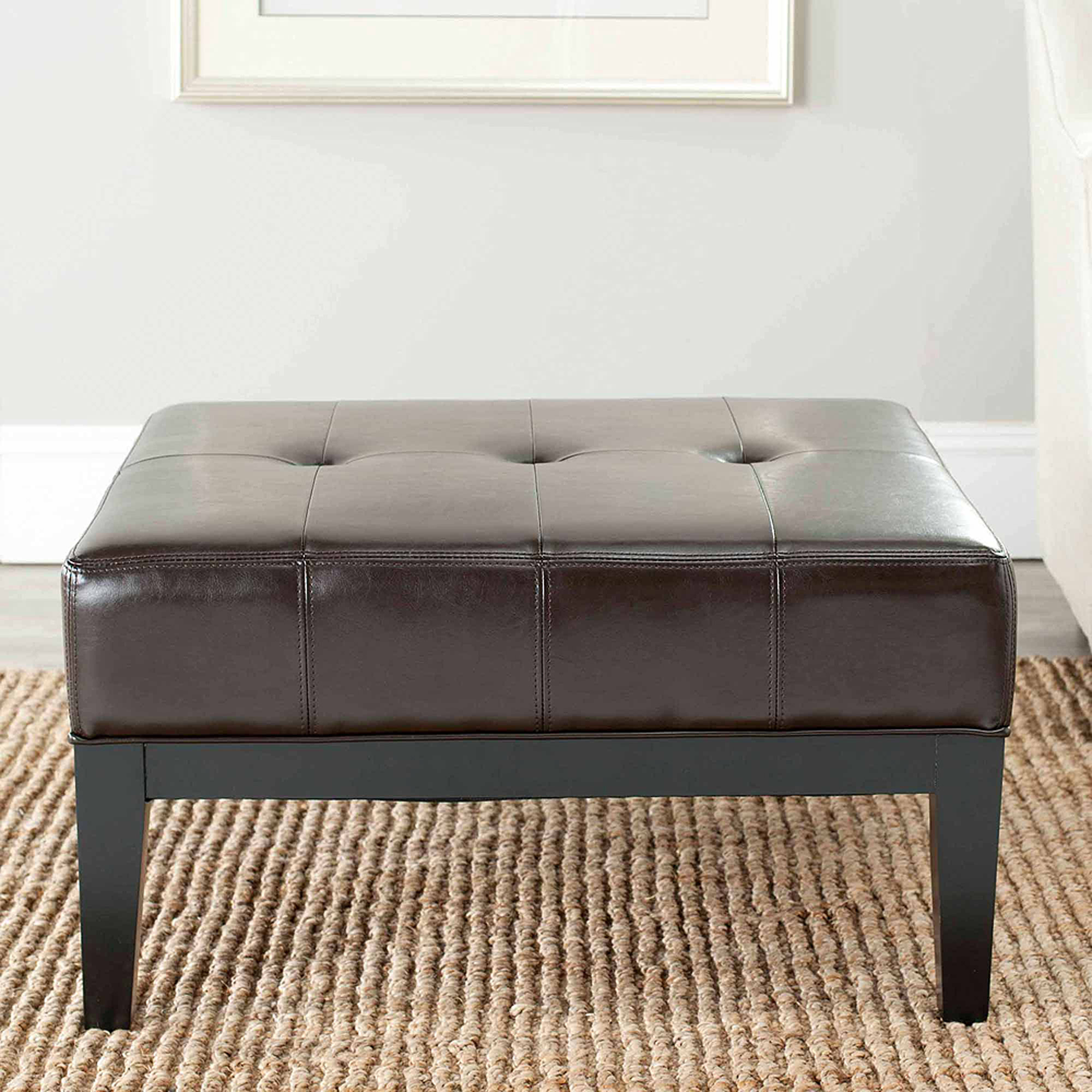 Safavieh Fulton Bicast Leather Small Square Cocktail Ottoman, Multiple Colors