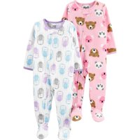 Child of Mine by Carter's Baby Toddler Girl Footed Microfleece Blanket Sleeper Pajamas, 2-Pack