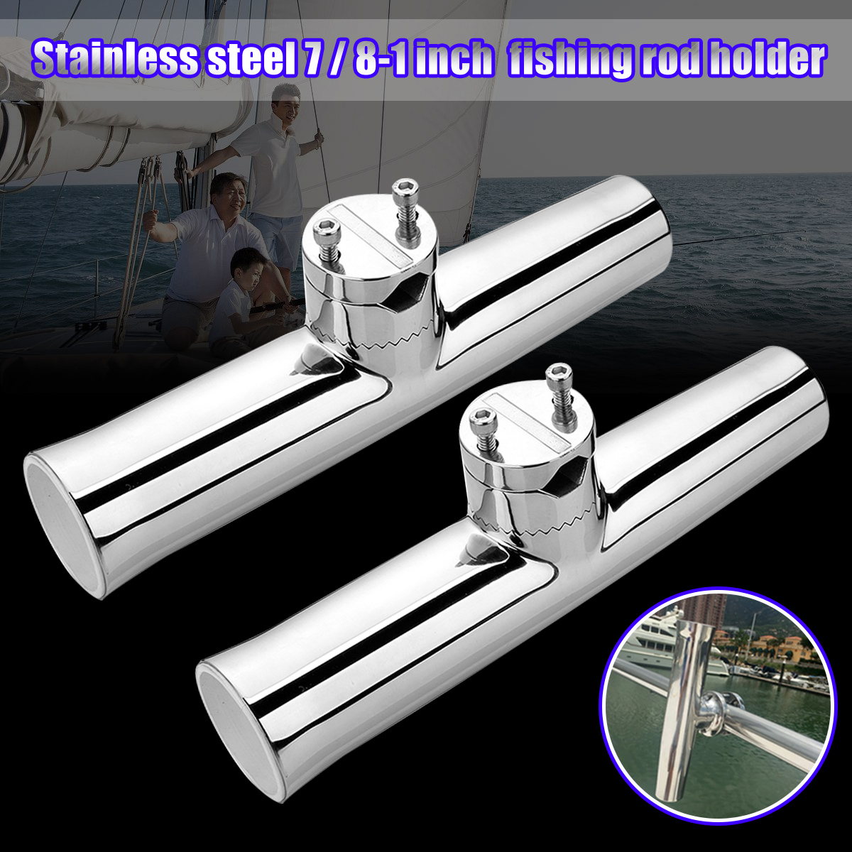 "Stainless Rail Mounted Clamp on Rod Holder for Fishing Boat 7//8/"" to 1/"" rail US"