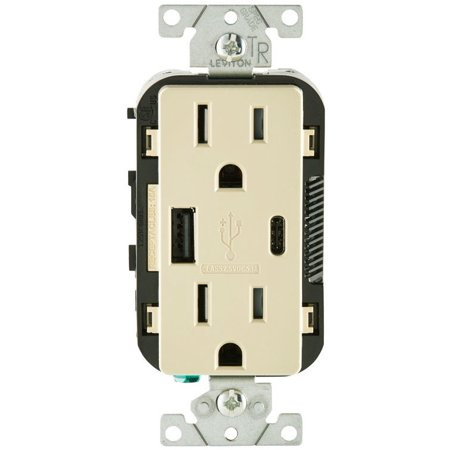 Leviton T5633-I Decora Receptacle & USB Charger, 15 Amp, 125 Volts
