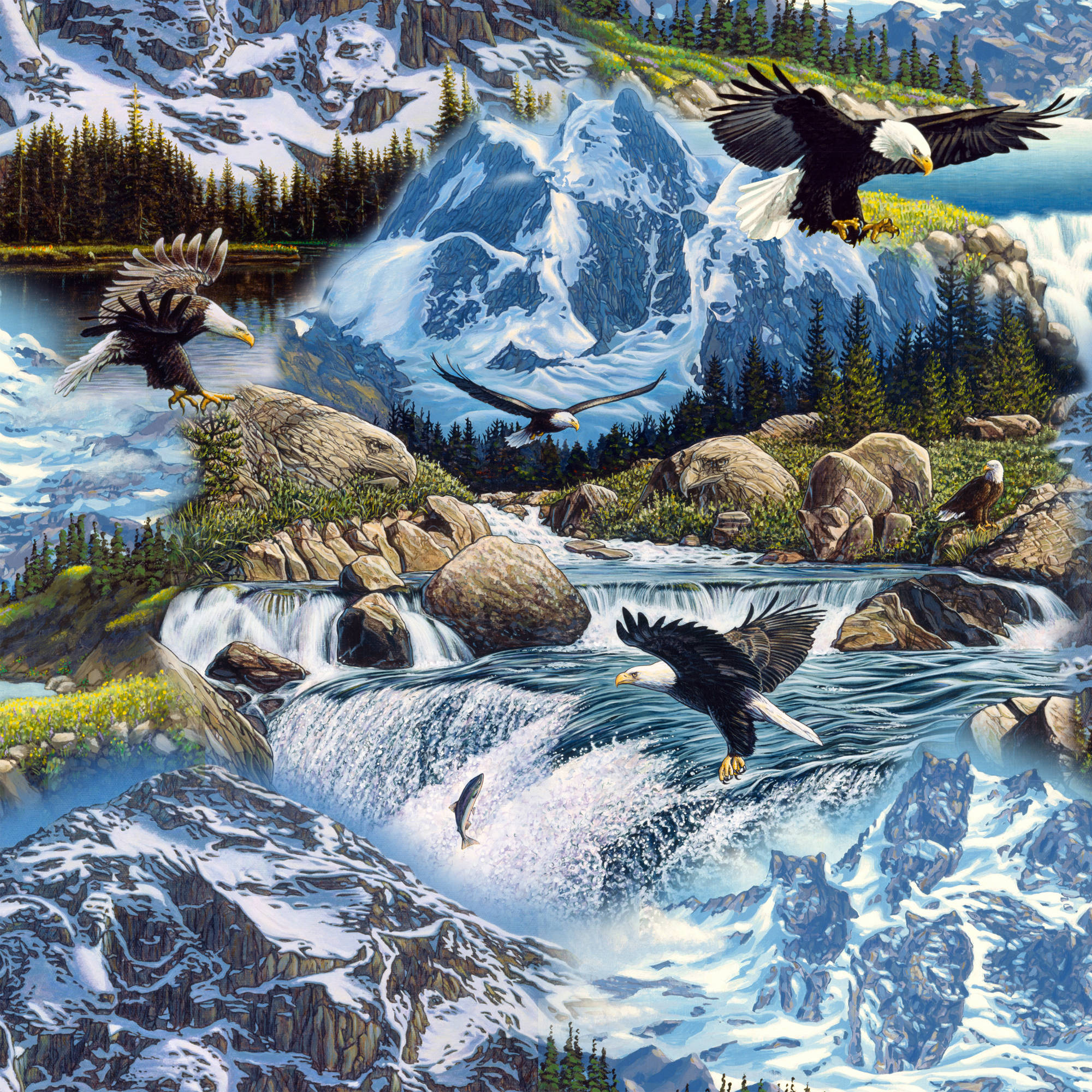 Mysterious Mountains Quilting Cotton Fabric By The Yard, 44""