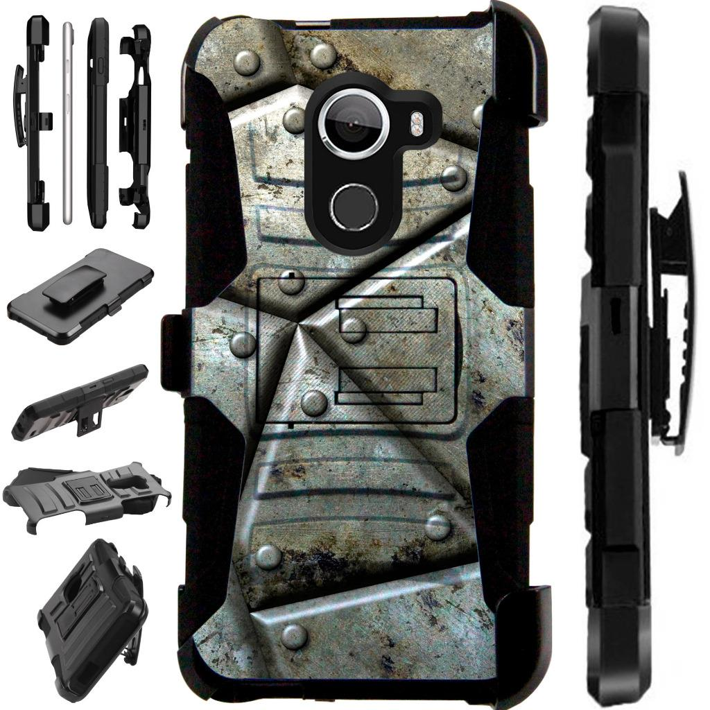 For T-Mobile REVVL / Alcatel A30 Fierce (MetroPCS) / Alcatel A30 Plus (Amazon) / Alcatel Walters Case Hybrid Armor Dual Layer Cover Kick Stand Rugged LuxGuard Holster (Metal Shell)