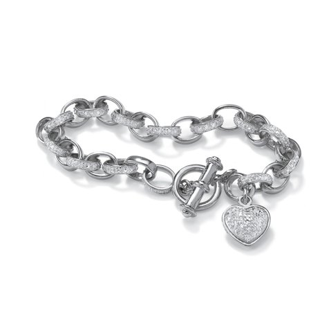 Diamond Accent Heart Charm Bracelet in Platinum over .925 Sterling Silver