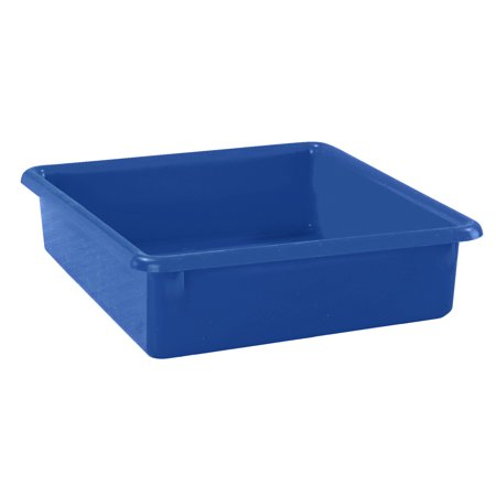 School Smart Flat Storage Container, 13 x 10-1/2 x 2-7/8 Inches, Blue ()