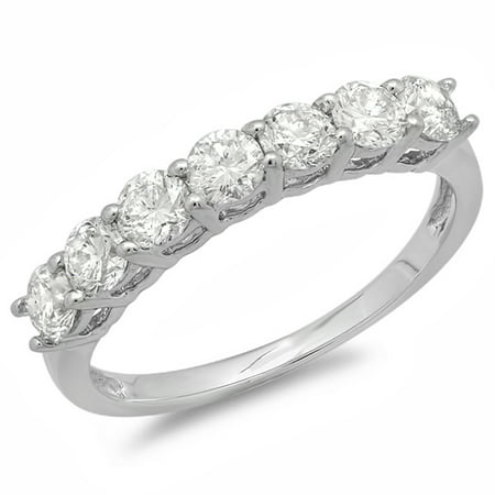 1.00 Carat (ctw) 18K White Gold Round White Diamond 7 Stone Bridal Wedding Band Anniversary Ring 1 CT