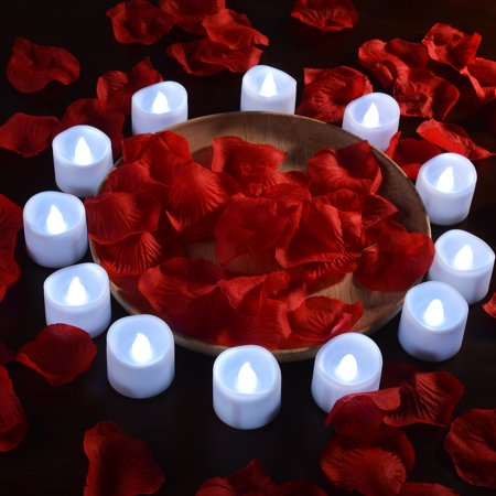 Image 12pcs LED Tealight Candles Battery Operated Flameless Smokeless w/ Decorative Fake Rose Petals Cool white - Fake Candle