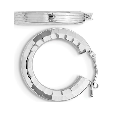 Leslie's 14K White Polished & Textured Hoop Earrings (24x22) - image 3 of 3