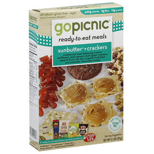 GoPicnic Sunbutter & Crackers Ready-to-Eat Meal, 3.5 oz, (Pack of 6)
