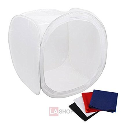 36 Inches Quality Non-reflective Snow White Fabric Photo Cube Studio Lighting Tent Kit w/ Multiple Color Backdrops for Professional Beginners Photographic
