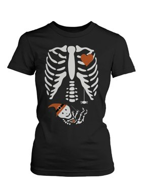 Halloween Pregnant Skeleton Wizard Witch Baby Shirt Maternity Themed Funny Shirt