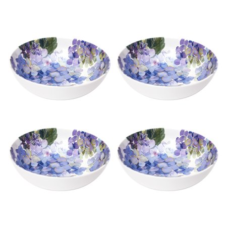 Better Homes & Gardens Hydrangea Purple Melamine Cereal Bowl, Set of 4 2 Rimmed Cereal Bowls