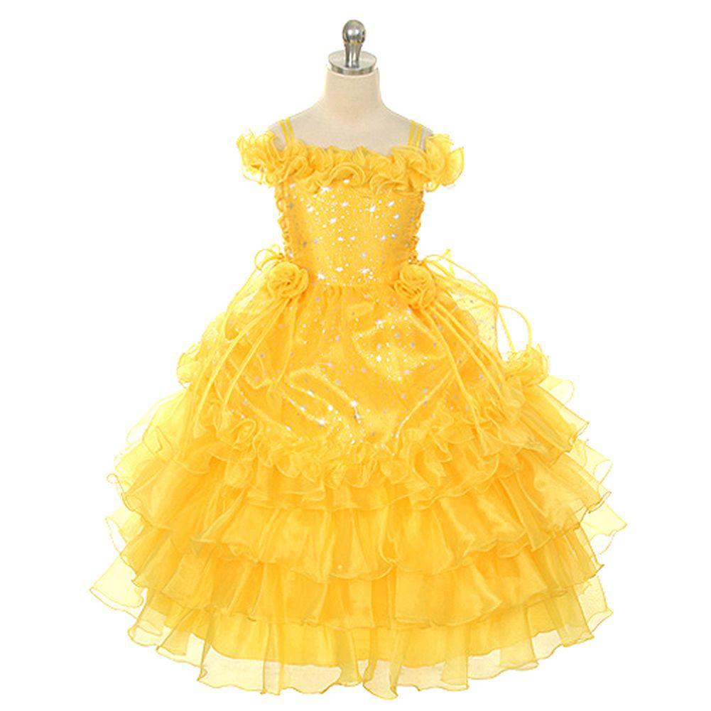 Rain Kids Yellow Stars Off Shoulder Pageant Dress Little ...
