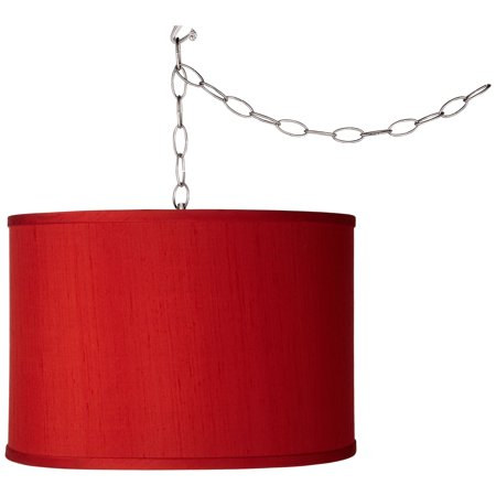 Possini Euro Design Swag Style Red Textured Faux Silk Shade Plug-In Chandelier