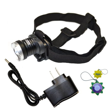 HQRP Powerful Rechargeable UV LED Headlamp Flashlight 390-395nm for Scorpions Hunting, Pet & Pest Stains, Hunting / Animal Blood Tracking + HQRP UV