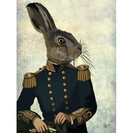 Lieutenant Hare Anthropomorphic Military Rabbit Portrait Print Wall Art By Fab Funky (Military Portrait)
