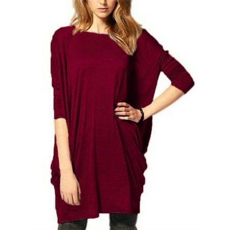 Batwing Knitted Dress - Women Loose Ruffle Batwing Long Sleeve Comfy Blouses Mini Dress
