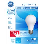 GE 60-Watt Equivalent Energy Efficient Soft White Halogen A19, 4-Pack