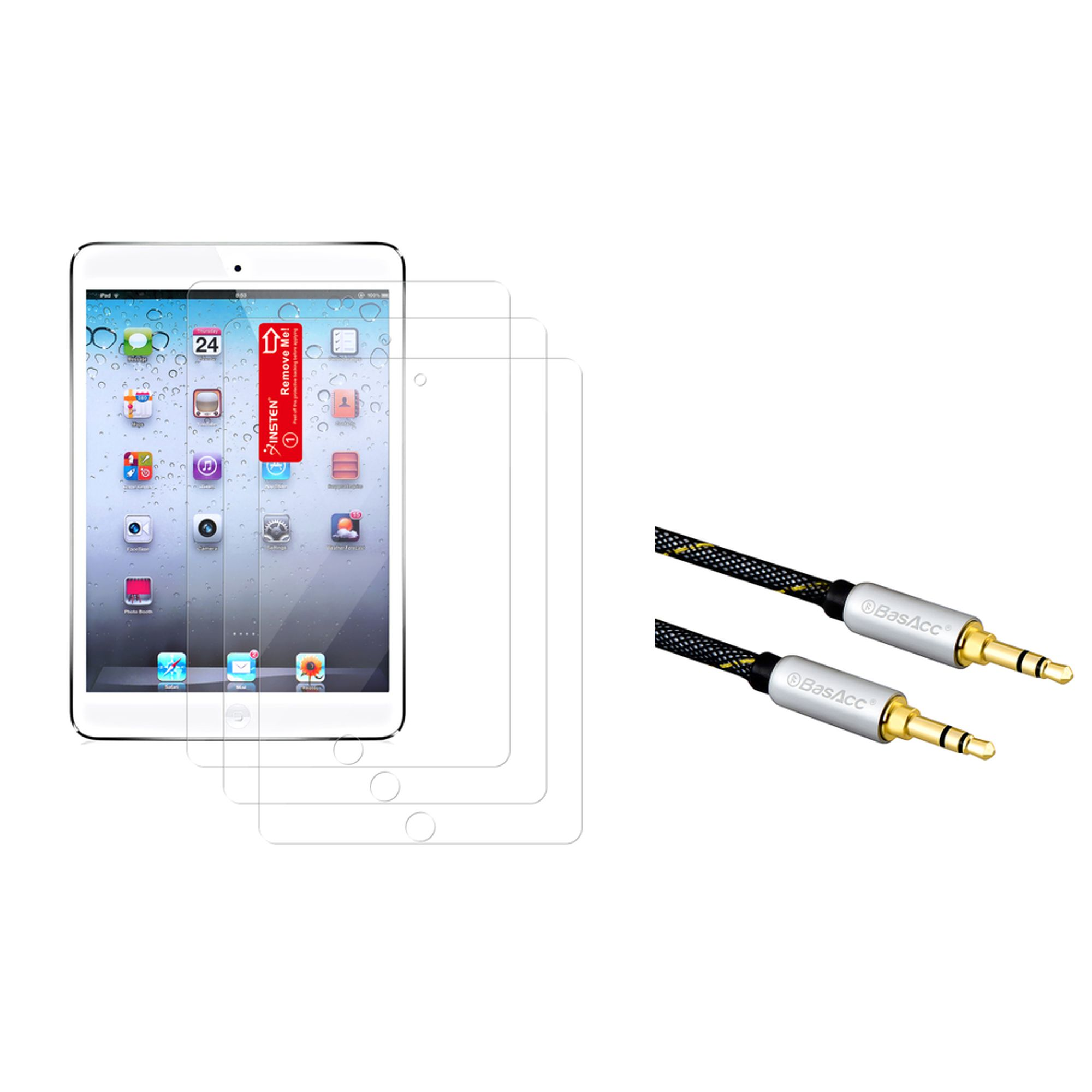 Insten 3-piece Screen Protector For iPad Mini 3 2 1 (+ 3.5mm Audio Cable) (2-in-1 Accessory Bundle)