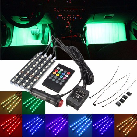 Music Activated Led (4IN1 Music Control Car Interior Light 7 Car A-tmosphere Light Color 36 LED Floor Decorative A-tmosphere Neon Light Kit with Sounds-activated & Wireless)