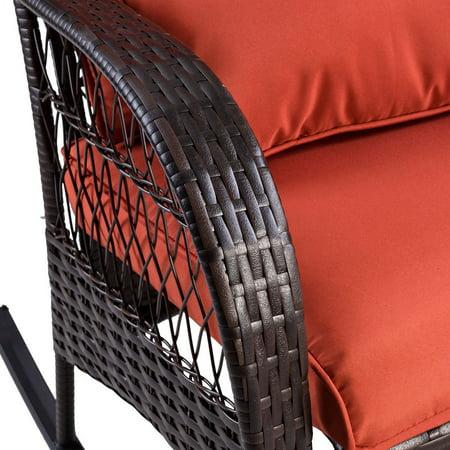 Gymax Patio Rattan Wicker Rocking Chair Porch Deck Rocker Outdoor Furniture W/ Cushion - image 1 of 10
