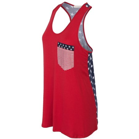 KOGMO Womens American Flag Sleeveless Jersey Racer Back Tank Tunic Top Made in USA
