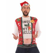 Faux Real Mens Jingle My Bells Ugly Christmas Sweater Beer Belly Holiday T-Shirt