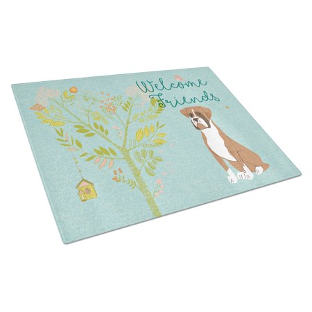 Welcome Friends Flashy Fawn Boxer Glass Cutting Board Large BB7582LCB ()